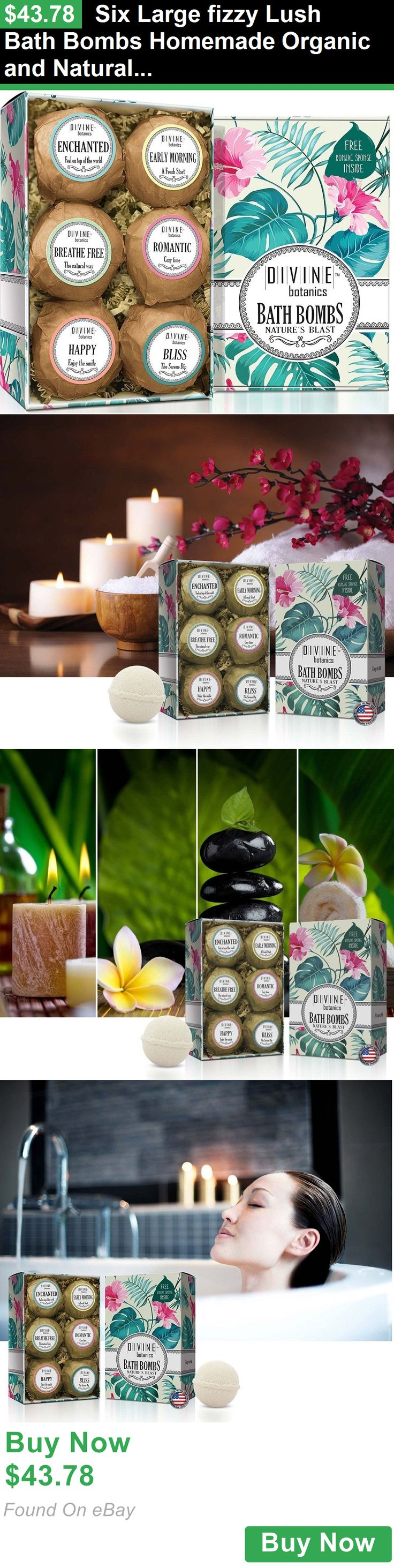 Bath Bombs and Fizzies 72759: Six Large Fizzy Lush Bath Bombs Homemade Organic And Natural + Konjac Sponge BUY IT NOW ONLY: $43.78
