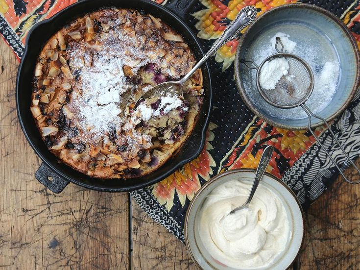 Blackcurrant Clafoutis Recipe with Cinnamon Cream - Try this delicious French dessert courtesy of Eleanor Ozich