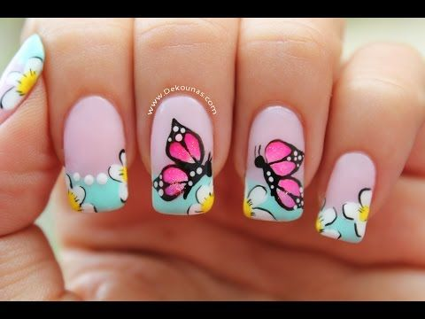 Decoracion de uñas mariposas - Butterfly nail art - YouTube