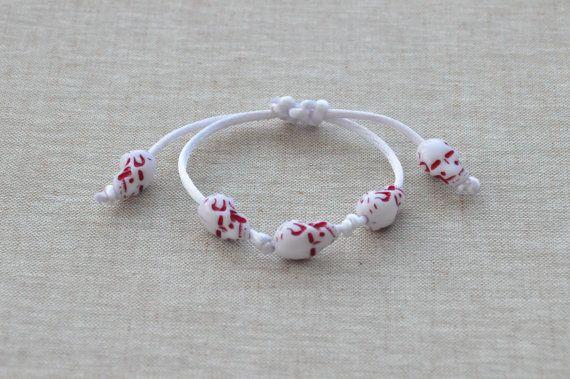 White SKULL BRACELET Gothic barcelet White and red bracelet  #whiteskullbracelet, #skullbracelet, #unisexbracelet, #adjustablebracelet