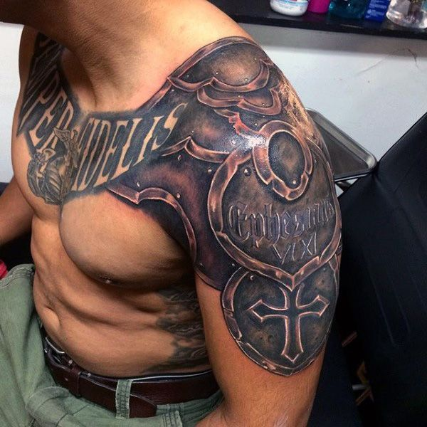 Armor Plate Mens Marine Chest And Arm Tattoos