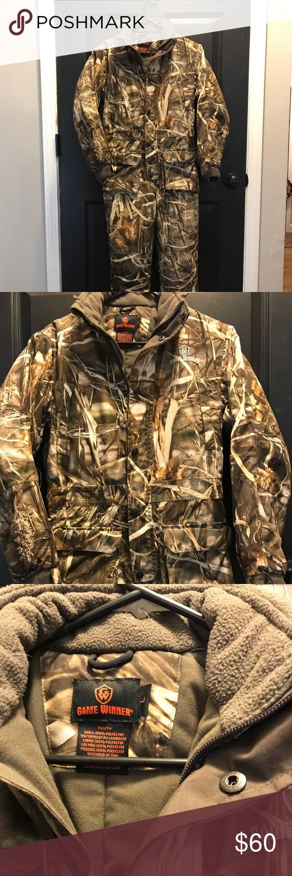 Game Winner waterproof insulated  coveralls Game winner waterproof insulated hunting camo coveralls size youth Large in mint condition. Make offer. We paid $100 from another site and they don't fit our son. Great buy :) Game Winner Jackets & Coats