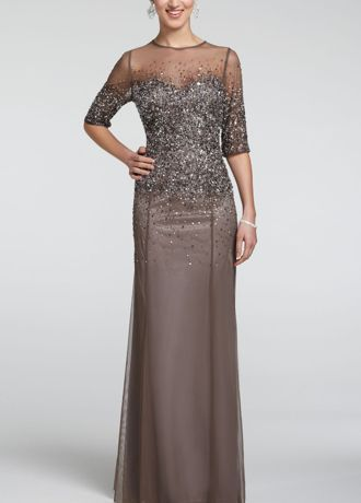 Any Mother of the Bride or Groomwill look fierce in this long and luxurious mesh dress!  Glitzy sheer mesh sequin bodiceand sleeves gives this classic silhouettea glamorous appeal.  Long and soft mesh material is ultra-feminine and comfortable.  Fully lined. Back zip. Imported polyester. Do not dry clean or wash; spot clean only.