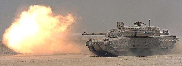 Leclerc Main Battle Tank, France  The Leclerc main battle tank firing its 120mm, 52-calibre smoothbore gun.