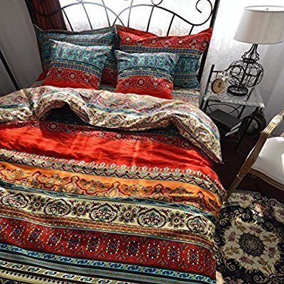 Unimall 100 % Cotton Double Size Striped Bohemian Exotic Style Red Duvet Quilt Bed Covers with Flat Sheet 2 Pillow Shams Bedding Set, 78 * 90 Inch (200 *230 cm)