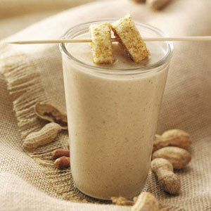 Peanut butter and banana  Believe it or not, this delicious, energy boosting smoothie, but the secret is in the amount of protein it provides, that will make you feel full and energized, so it is perfect before you go to the gym or in early in the morning to start the day! Take it instead of one meal per day. Do not over-eat it. • Half of one banana • 1/2 cup smooth or crunchy low-fat peanut butter • 1/2 cup of almond milk