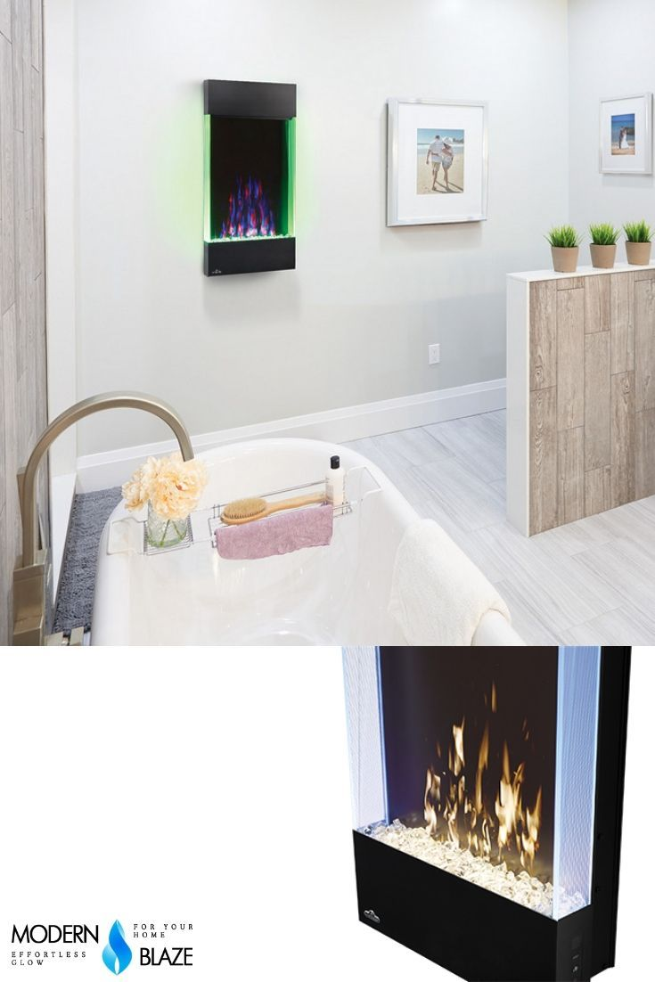 Compact Vertical Electric Fireplace For Any Room Even Bathroom Wall Mounted Fireplace Electric Fireplace Wall Mount Electric Fireplace