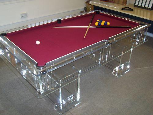 Unique Designer Transparent Acrylic Perspex Pool Table In
