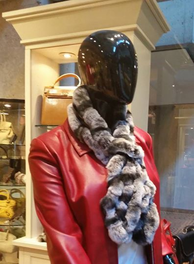 As the weather gets chilly, cuddle up with one of our rex rabbit scarves from Spain. Come check out how soft and warm it is. Black and white combination pictured is $119, also available in 2 other colors.