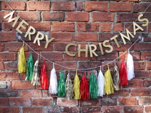 MERRY CHRISTMAS with BUDDY large tassels Classic fun Christmassy colours make our BUDDY large tassel garland a great way to inject some festive cheer into your home or party!   Handmade Christmas party&home decor by Paper Street Dolls  paperstreetdolls.etsy.com