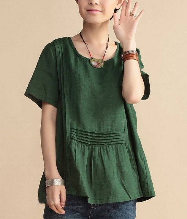 Deep green linen tunic with pintucks both vertical and horizontal, from zenb