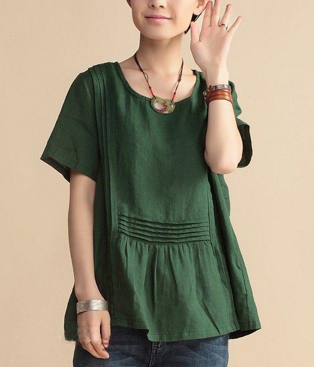 Deep green linen tunic with pintucks both vertical and horizontal, from zenb