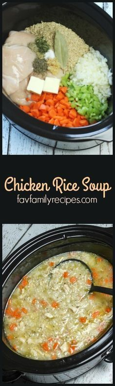 Slow Cooker Chicken and Rice Soup is an easy chicken soup recipe. All of the raw ingredients go in the slow cooker and a nice, warm soups awaits six hours later. via /favfamilyrecipz/