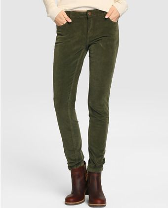 Pantalón pitillo de mujer Green Coast de pana