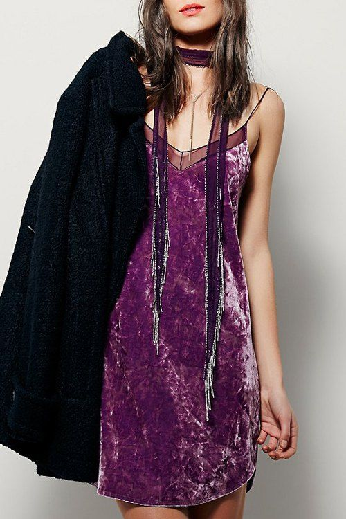 Purple Crushed Velvet  Cami Backless Dress