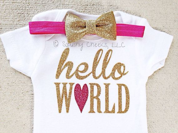 Hello World Onesie with Headband, NO SHED Glitter Take Home Infant Outfit, Newborn Girl Clothes, Baby Shower Gift, Hospital Newborn Outfit