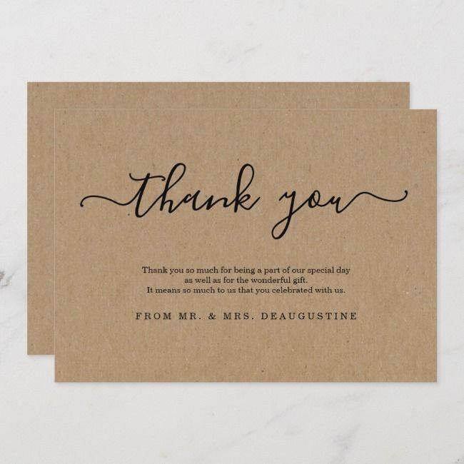 Simple Rustic Kraft Paper Thank You Card Zazzle Com In 2021 Thank You Cards Cards Kraft Paper Art