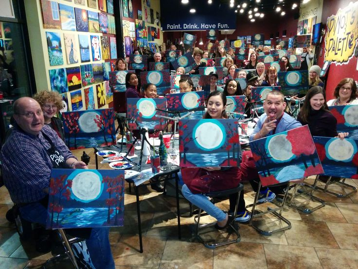 Wow, simply amazing! Yet Another Full House SOLD Out Paint party at Howard County' BEST Night Out. Everyone did a fantastic job creating their own Japanese Moon Garden. So when you ask yourself, what is there to do in boring Howard County!? Look no further. Pinot's Palette is your answer. Just ask these wonderful painters. Go Team Pinot of Turf Valley. ‪#‎hocoEvents‬