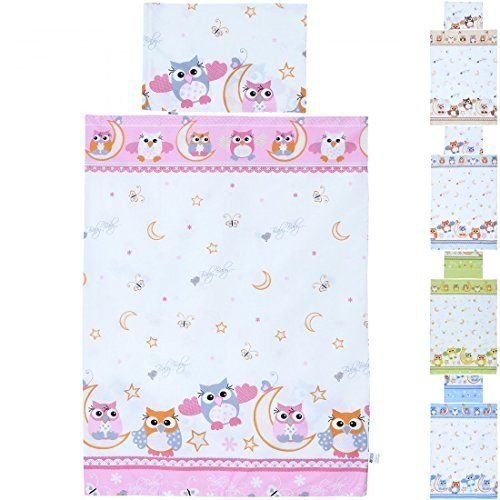 buy now   									£14.99 									  									LCP Kids Owls 2 Pcs Baby Cot Bedding Set – Duvet Cover 135x100cm Pillowcase 60x40cm for Children Room // Set includes a 2 pieces baby bedding cot  ...Read More