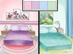 Incorpora los colores pastel para brindarle más paz y sosiego a tu dormitorio. Al fin y al cabo, lo más importante será que te sientas tranquilo en tu propio dormitorio y dormir bien. Colocar suaves colores pastel por toda tu habitación le aportará serenidad y calma. Podrás usar algunos de los siguientes colores: azul claro; rosa claro; verde claro; morado claro.