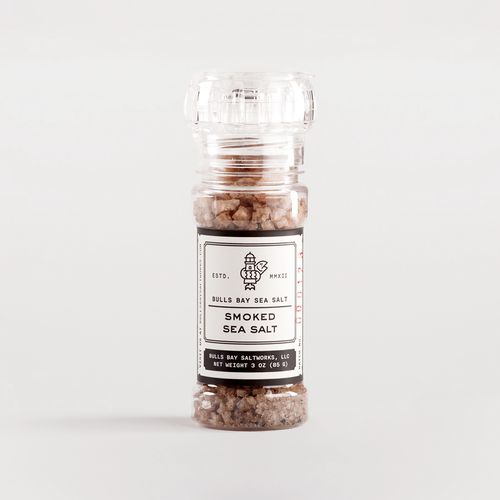 "Bulls Bay Saltworks. Smoked Sea Salt. ""Solar Evaporated Sea salt with smoked oat"