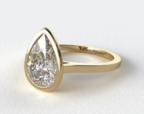 18k Yellow Gold Bezel Solitaire Engagement Ring (Pear Center)