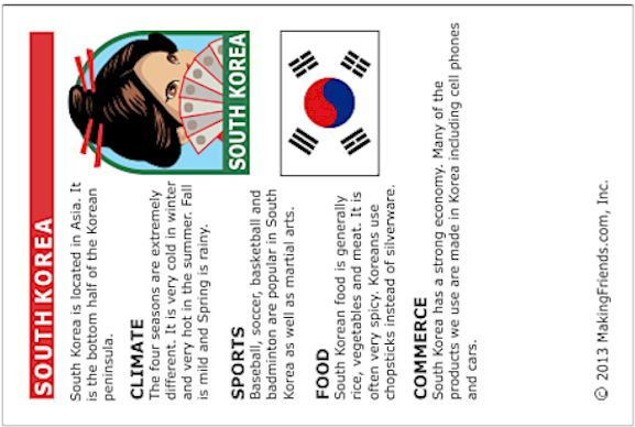 South Korea Printable Fact Card