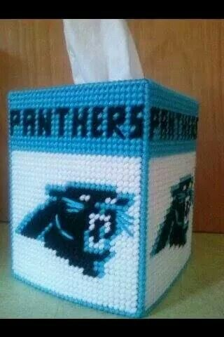 Carolina Panthers Tissue Box Cover (White)