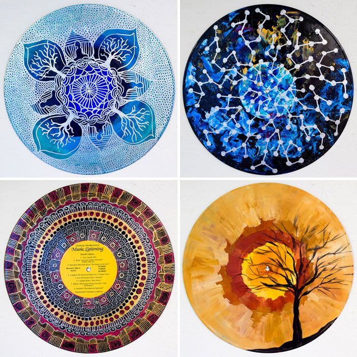 bored this fall get painting on old vinyl thats no longer needed! Art Therapist Paints Mandalas On Vinyl Records