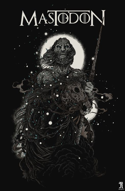 richeybeckett: I'm very pleased to reveal my new artwork for the mighty MASTODON to celebrate the release of their fantastic new song 'WHITE WALKER', which heralds the launch of the new season of GAME OF THRONES and appears on the official HBO/Game Of Thrones LP. This shirt design (fully sanctioned by HBO) is available right NOW on Mastodon's U.S/Canadian tour with the unfathomably great line up of Mastodon, Clutch, Big Business and Graveyard.