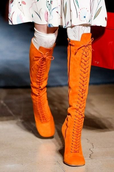 Miu Miu SS 2014. Well shut the front door!!! I ADORE these orange boots.