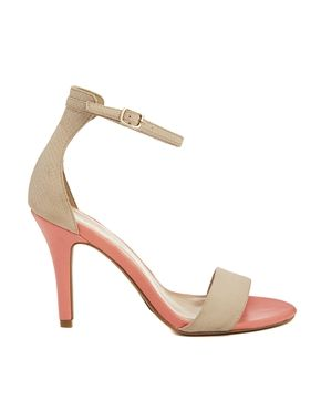 Ankle-strap heels in neutral/coral color block, $37.62 at ASOS