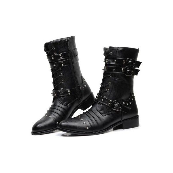 Punk Steel Studs Zipper Men Pointed Martin Boots Men Army Boot ❤ liked on Polyvore featuring men's fashion, men's shoes, men's boots, mens studded boots, mens studded combat boots, mens punk boots, mens zip shoes and mens boots