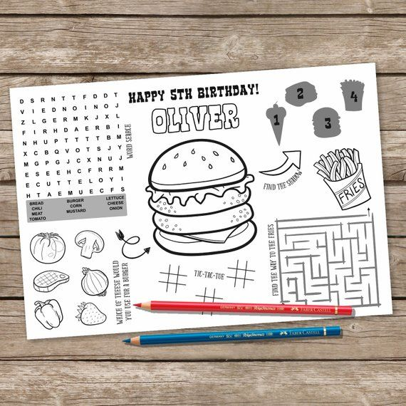 Printable Burger And Fries Placemat Kids Activity Table Mat