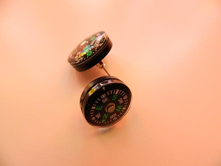 Steampunk compass earrings