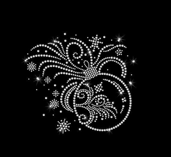 Christmas Snowflake Crystal Christmas Festive iron on motif hotfix applique