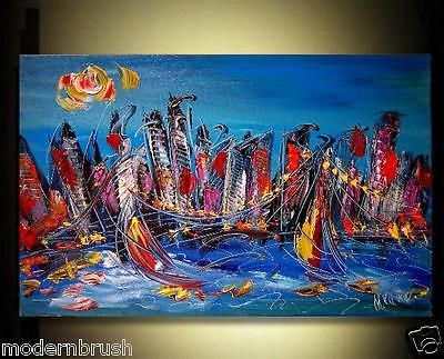 New York  original oil painting MODERN ABSTRACT CONTEMPORARY -87t0897
