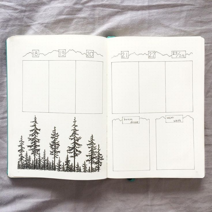 "655 Likes, 30 Comments - Camille (@bujo.by.caco) on Instagram: ""More trees and mountains this week! I decided to add a brain dump section and a little ""next week""…"""
