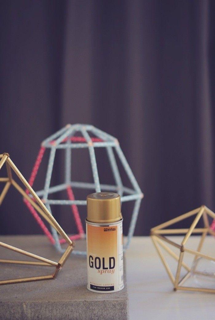 DIY Diamond Straw Lampshade I Remodelista