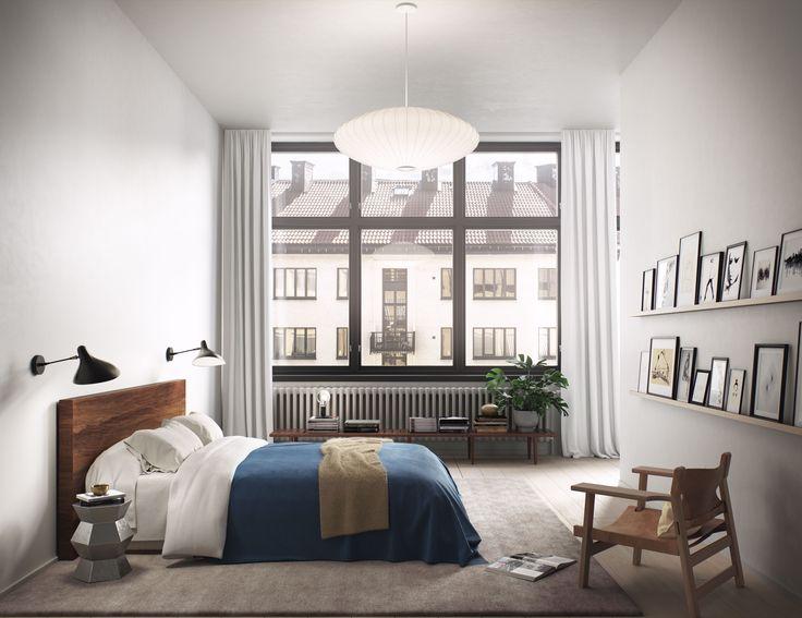 Oscar Properties #oscarproperties Stockholm, Radiofabriken, Industriverket, bedroom, blue, lamp, window, bed