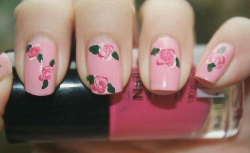 pretty pink + roses #nails