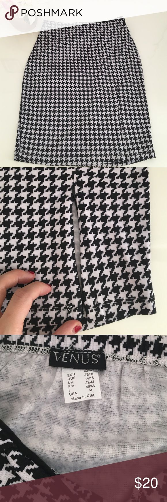 Pencil skirt Cute houndstooth pattern pencil skirt. The material is pretty thin and probably best for a slimmer and fit female, but nice curves will also do. (The last picture is the ad from Venus). The material is nice and breezy and best to be worn in the spring/ summer. Never worn before. Venus Skirts Pencil