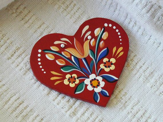 Spring Blooms - Series 01.1 - red, handpainted wood laminate heart inspired by traditional, historic Transylvanian style