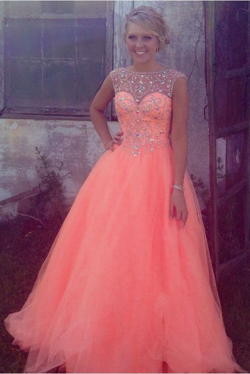 2017 New Cheap Ball Gown Scoop Cap Sleeved Tulle Coral Long Prom Dress,Crystal Custom Made Evening Dress,High Quality Prom Gown,Evening Gowns