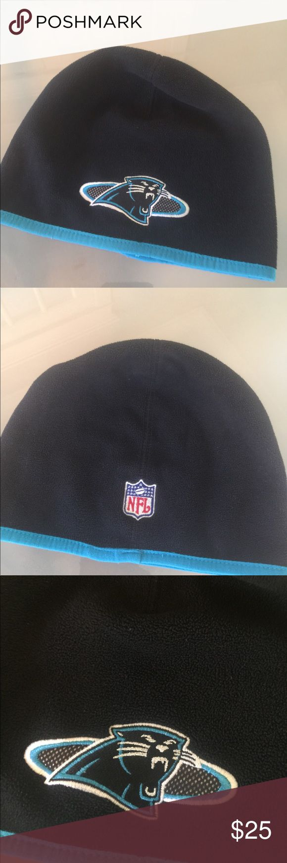 """NFL Carolina Panthers🏈🏈🏈 Fleece snug fit NFL Carolina Panthers 🏈🏈🏈 Fleece snug fit beanie type hat. Black with aqua, white and silver embroidered design. 10"""" across head & 8"""" from rim to top of hat, all approx. minor wear from normal use. Official NFL gear!!🏈 NFL Accessories Hats"""