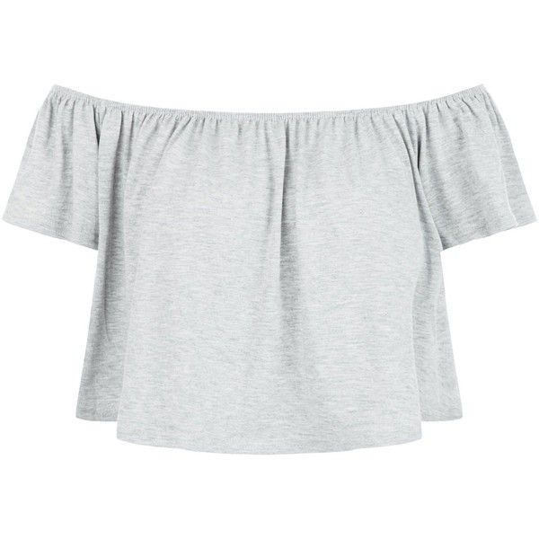 New Look Blue Vanilla Grey Bardot Neck Crop Top ($13) ❤ liked on Polyvore featuring tops, grey, gray crop top, cropped tops, summer tops, grey crop top and gray top