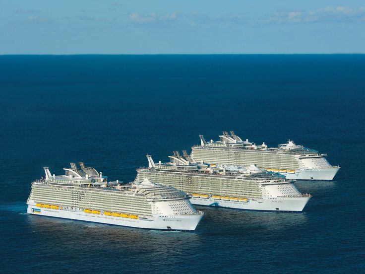 The world's three largest cruise ships; Harmony of the Seas, Oasis of the Seas and Allure of the Seas. Each is concipated for over 2000 crewmen and 6000 passengers.