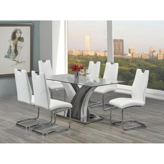 Jerome Glass Dining Table Set  #www.craftmansfurniture.ca #furniture #furnituredesign #interiordesign #interiors #furnishing #couches #sofas #bedroomset #diningtable #rugs #coffeetables #canvas #endtables #accessories #accentchairs #canadianmade #solidwood #barstools #mirrors #heartlandtowncentre #handmade #mississauga #contemporaryart #bedroomdecor #homedecor #modernfurniture