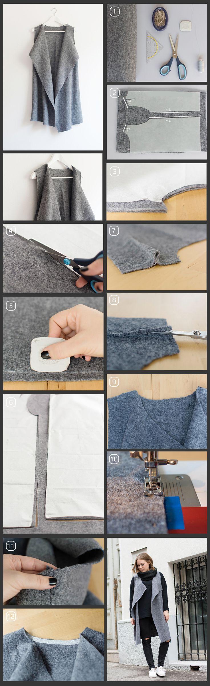 Шьем #стильный и теплый шерстяной #жилет ⛅ Инструкция в картинках, быстро и просто. #handmade #fashion #стиль #осень #шитье