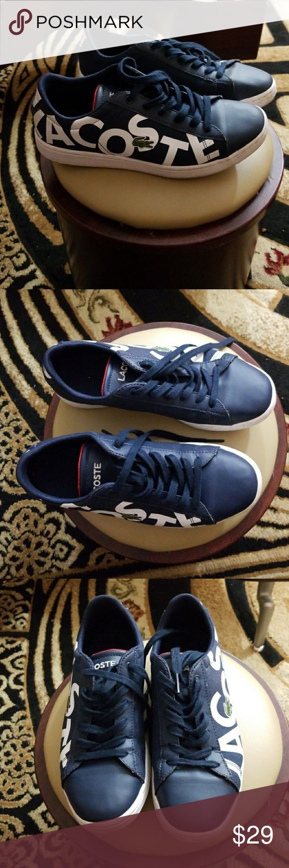Kids blue lacoste sneakers size 5 Preowned boys blue Lacoste sneakers size 5. I bought these for my son and in only wore them maybe 5 times. He grew out of them. KIDS GROW FASTER THAN I EXPECT. Lol!! The sneakers are in great condition and the sole is not warn out. Your kid will love these sneakers. Lacoste Shoes Sneakers